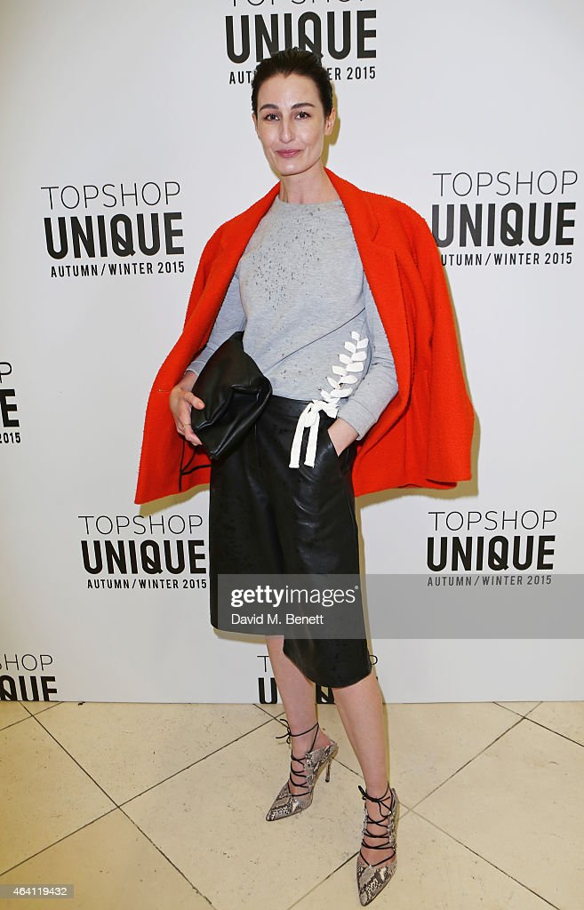 Erin O'Connor attends the Topshop Unique show during London Fashion Week Fall/Winter 2015/16 at Tate Britain on February 22, 2015 in London, England.