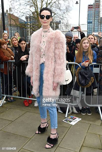Erin O'Connor attends the Topshop Unique show during London Fashion Week Autumn/Winter 2016/17 at Tate Britain on February 21 2016 in London England