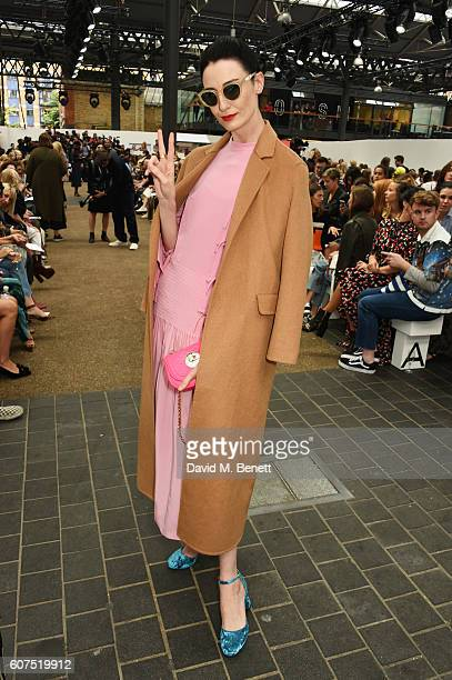 Erin O'Connor attends the Topshop Unique show during London Fashion Week Spring/Summer Collections 2017 at Old Spitalfields Market on September 18...