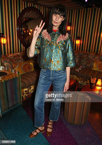 Erin O'Connor attends Zac Posen's dinner to celebrate his first women's collection for Brooks Brothers at Loulou's on June 8 2016 in London England