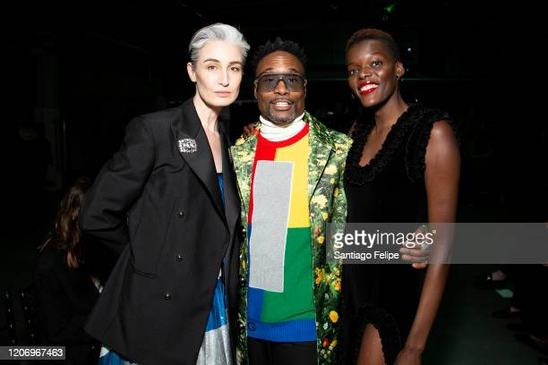 Erin O'Connor Billy Porter and Sheila Atim attend 'Christopher Kane' fashion show during London Fashion Week February 2020 on February 17 2020 in...