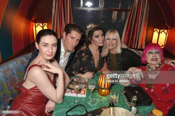 Erin O'Connor guest Grace Woodward Virginia Bates and Dame Zandra Rhodes attend the LOVE and MIU MIU Women's Tales Party at Loulou's on February 19...