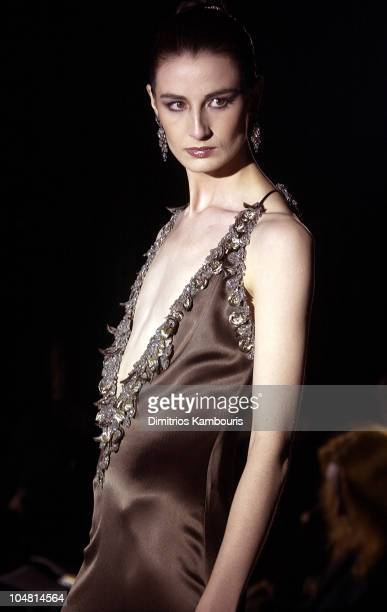 Erin O'Connor in Badgley Mischka Fall 2003 during MercedesBenz Fashion Week Fall 2003 Collections Badgley Mischka Runway at Bryant Park in New York...