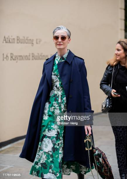 Erin O'Connor is seen outside Erdem during London Fashion Week September 2019 on September 16, 2019 in London, England.