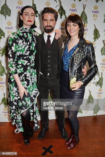 Erin O'Connor Jack Guinness and Sam Rollinson attend the Pimm's No6 Vodka Cup official launch party at 12 Golden Square on April 11 2018 in London...