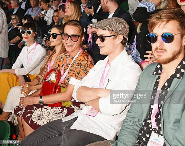 Erin O'Connor Maria Hatzistefanis Alfie Allen and Arthur Darvill attend the evian Live Young suite during Wimbledon 2016 at the All England Tennis...