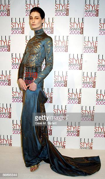 Erin O'Connor poses backstage in the Awards Room with the Model award at the ELLE Style Awards 2006 the fashion magazine's annual awards celebrating...