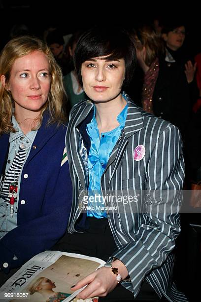 Erin O'Connor poses on the front row at the Betty Jackson show for London Fashion Week Autumn/Winter 2010 at Somerset House on February 21 2010 in...
