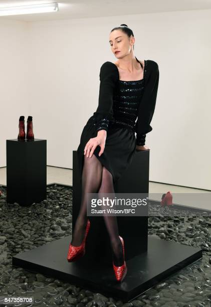 Erin O'Connor showcases designs at the DORATEYMUR presentation during London Fashion Week September 2017 on September 15 2017 in London England