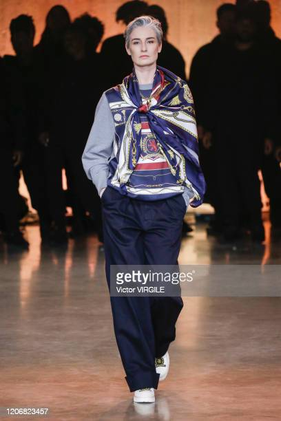 Erin O'Connor walks the runway at the Tommy Hilfiger Ready to Wear Spring/Summer 2020 fashion show during London Fashion Week on February 16 2020 in...