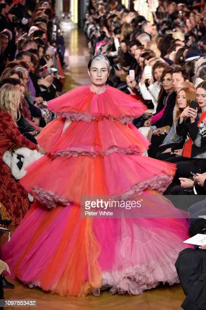 Erin O'Connor walks the runway during the Schiaparelli Spring Summer 2019 show as part of Paris Fashion Week on January 21, 2019 in Paris, France.