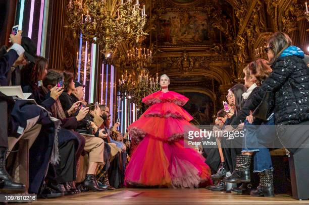 Erin O'Connor walks the runway during the Schiaparelli Spring Summer 2019 show as part of Paris Fashion Week on January 21 2019 in Paris France