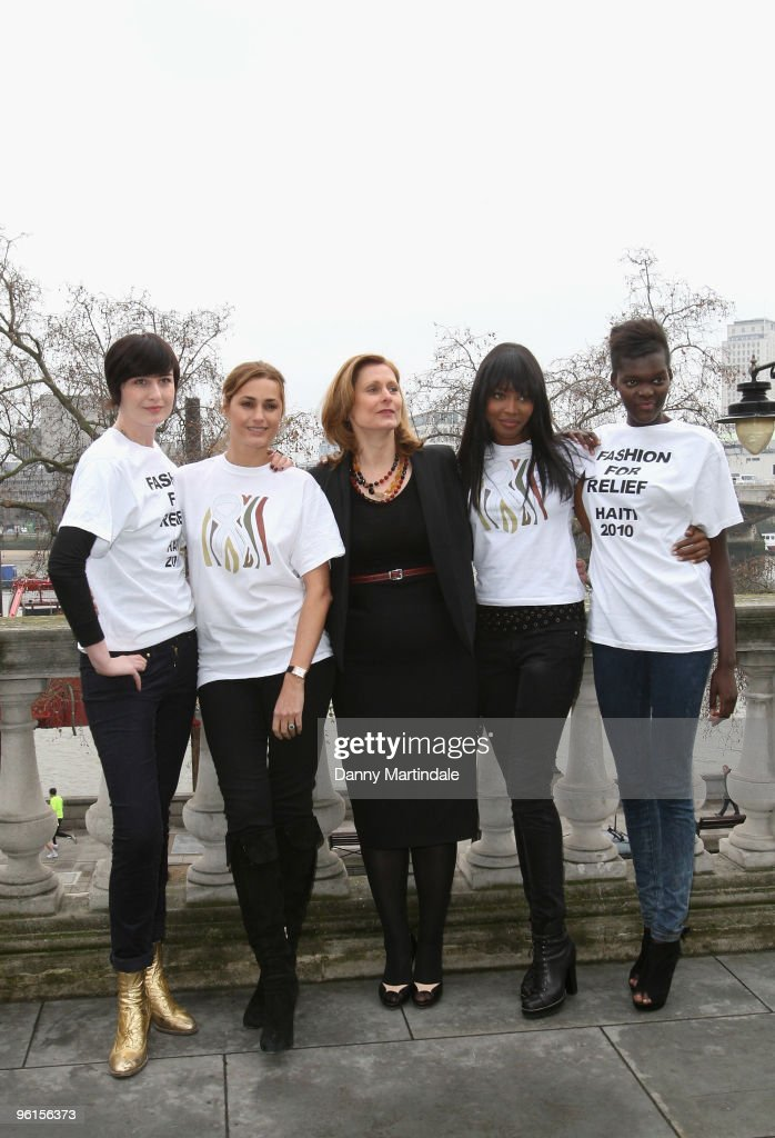 Erin O'Connor, Yasmin Le Bon, Sarah Brown, Naomi Campbell and Sheila Atim attend photocall to announce 'Fashion For Relief 2010' at Somerset House on January 25, 2010 in London, England.