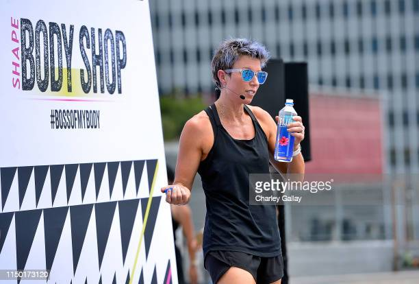 Erin Oprea leads a workout during FIJI Water at SHAPE Body Shop 2019 at Hudson Loft on June 15, 2019 in Los Angeles, California.