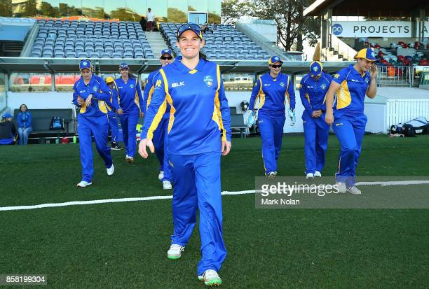 Erin Osborne leads the ACT meteors onto the filed during the WNCL match between ACT and Victoria at Manuka Oval on October 6 2017 in Canberra...