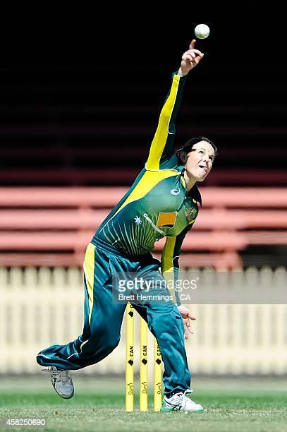 Erin Osborne of Australia bowls during the women's International Twenty20 match between Australia and the West Indies at North Sydney Oval on...