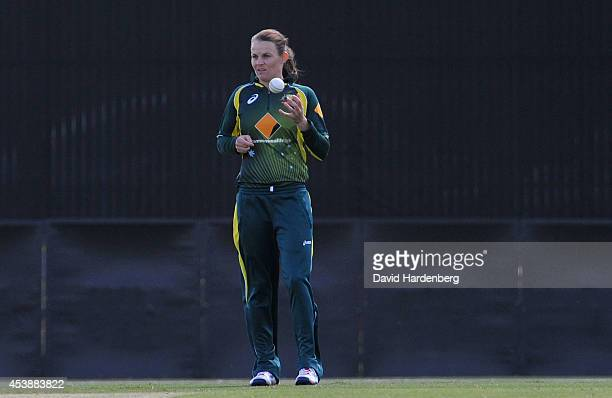 Erin Osborne of Australia gets ready to bowl during the women's international series One Day match between the Australian Southern Stars and Pakistan...