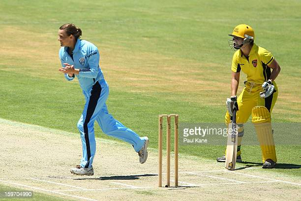 Erin Osborne of the Breakers celebrates the wicket of Nicole Bolton of the Fury during the women's Twenty20 final match between the NSW Breakers and...