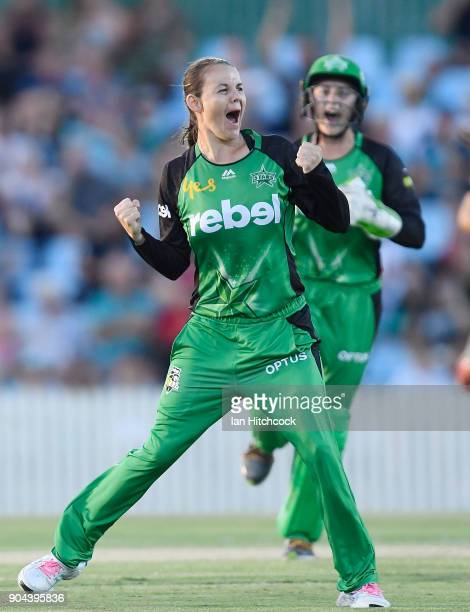 Erin Osborne of the Stars celebrates after taking the wicket of Beth Mooney of the Heat during the Women's Big Bash League match between the Brisbane...