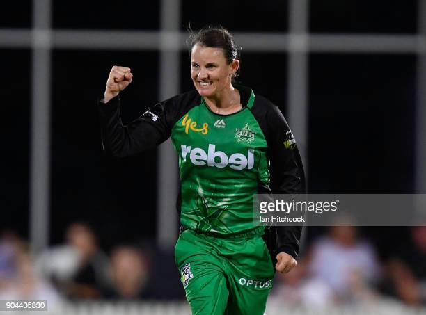 Erin Osborne of the Stars celebrates taking the wicket of Jess Jonassen of the Heat during the Women's Big Bash League match between the Brisbane...