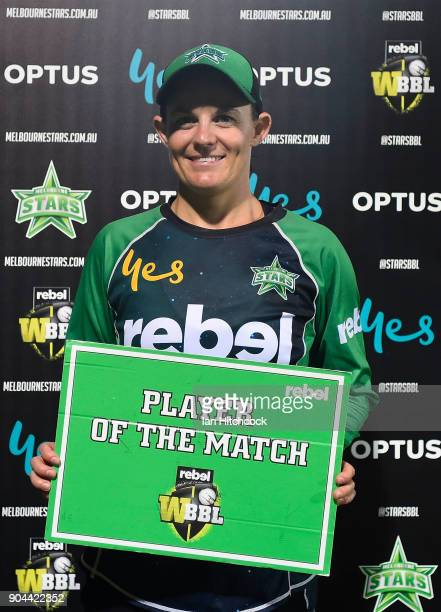 Erin Osborne of the Stars with the player of the match award during the Women's Big Bash League match between the Brisbane Heat and the Melbourne...