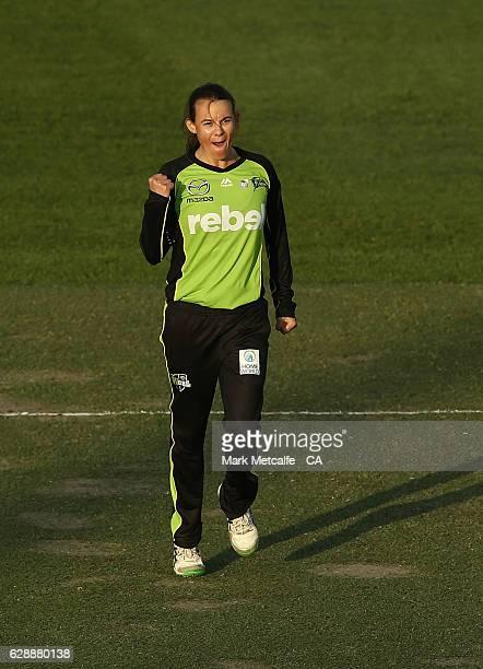 'SYDNEY AUSTRALIA DECEMBER 10 Erin Osborne of the Thunder celebrates taking the wicket of Jess Cameron of the Stars during the Women's Big Bash...