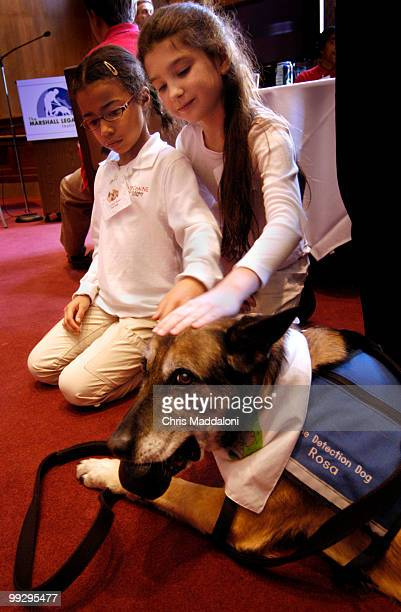 Erin Page and Amanda Keiser elementary school students from the Browne Academy in Alexandria Va shower attention on Rosa a retired minesniffing dog...