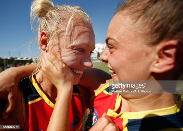 Erin Phillips and Ebony Marinoff of the Crows celebrate during the 2017 AFLW Round 07 match between the Collingwood Magpies and the Adelaide Crows at...