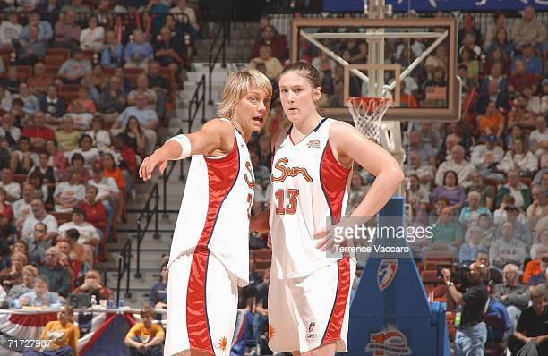 Erin Phillips and Lindsay Whalen of the Connecticut Sun during the game against the Detroit Shock in game three of the WNBA Eastern Conference Finals...