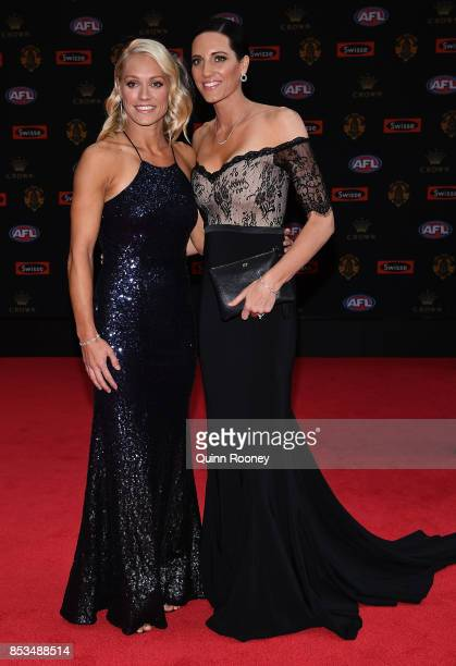 Erin Phillips and partner Tracy Gahan arrive ahead of the 2017 Brownlow Medal at Crown Entertainment Complex on September 25 2017 in Melbourne...