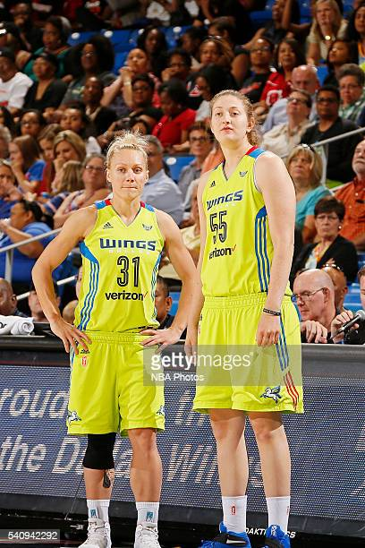 Erin Phillips and Theresa Plaisance of the Dallas Wings talk during the game against the Seattle Storm on June 16 2016 at College Park Center in...