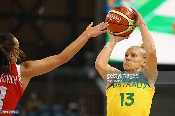 Erin Phillips Australia shoots during the Women's round Group A basketball match between Australia and Belarus on Day 7 of the Rio 2016 Olympic Games...