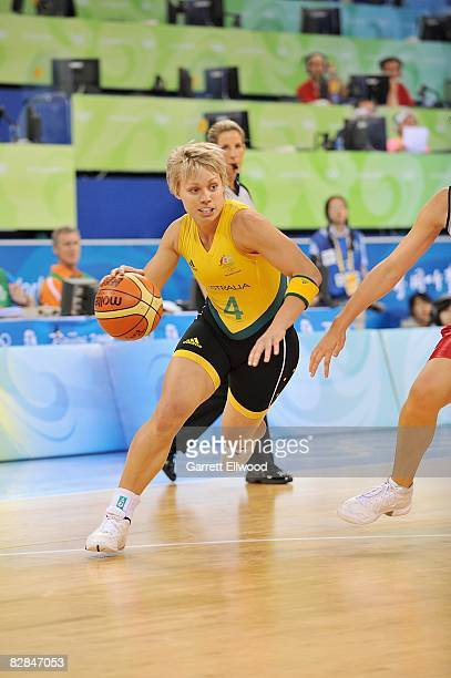 Erin Phillips of Australia drives the ball up court during the 2008 Beijing Summer Olympics against the Czech Republic on August 19 2008 at the...