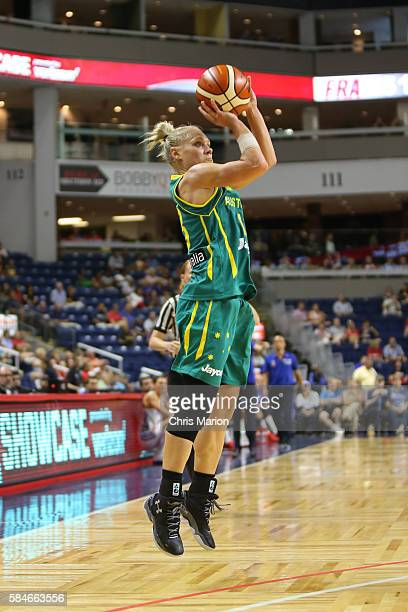 Erin Phillips of Australia shoots against France on July 29 2016 at the Webster Bank Arena in Bridgeport Connecticut NOTE TO USER User expressly...
