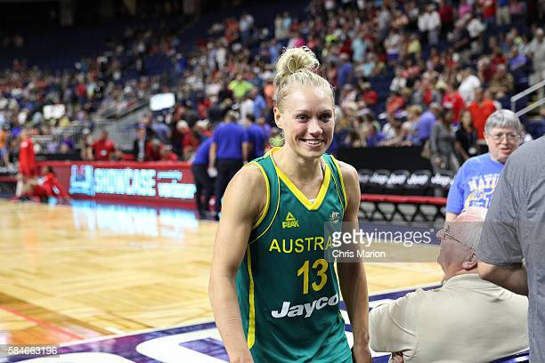 Erin Phillips of Australia smiles after the game against France on July 29 2016 at the Webster Bank Arena in Bridgeport Connecticut NOTE TO USER User...