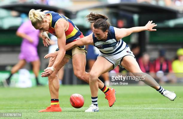 Erin Phillips of the Adelaide Crows competes with Cassie Blakeway of the Cats during the AFLW Preliminary Final match between the Adelaide Crows and...