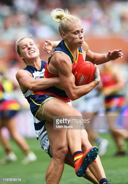 Erin Phillips of the Adelaide Crows marks in front of Jordan Ivey of the Cats during the AFLW Preliminary Final match between the Adelaide Crows and...