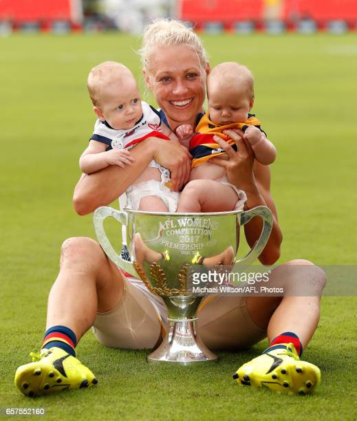 Erin Phillips of the Crows celebrates with children Blake and Brooklyn after the 2017 AFLW Grand Final match between the Brisbane Lions and the...