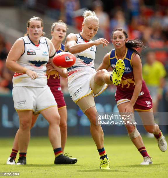 Erin Phillips of the Crows in action during the 2017 AFLW Grand Final match between the Brisbane Lions and the Adelaide Crows at Metricon Stadium on...
