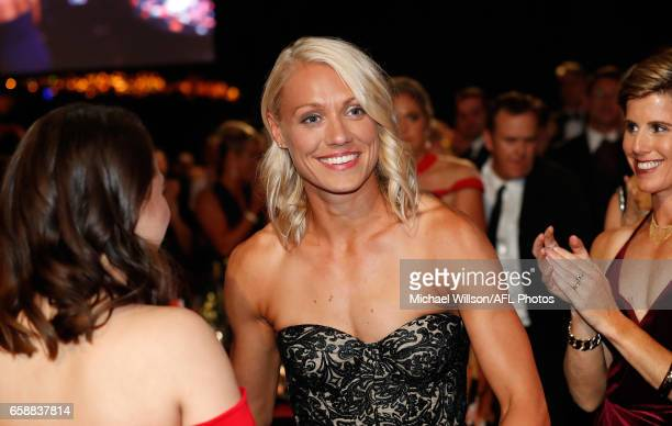 Erin Phillips of the Crows makes her way to the stage after being announced as the Inaugural AFLW Best and Fairest winner during the The W Awards at...