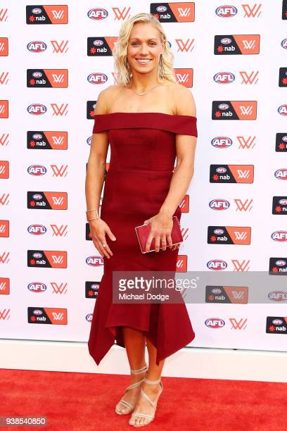 Erin Phillips of the Crows poses at the 2018 AFW Awards at The Peninsula on March 27 2018 in Melbourne Australia