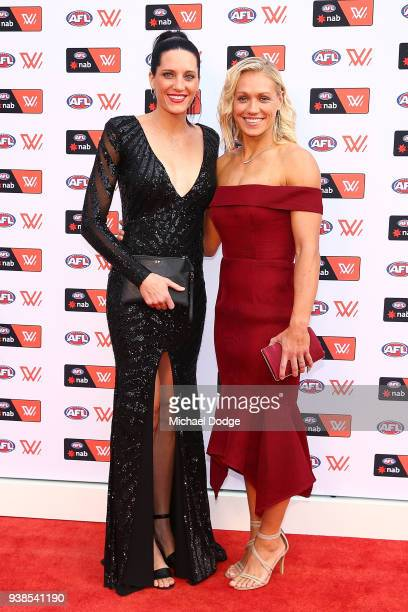 Erin Phillips of the Crows poses with partner Tracey Phillips at the 2018 AFW Awards at The Peninsula on March 27 2018 in Melbourne Australia