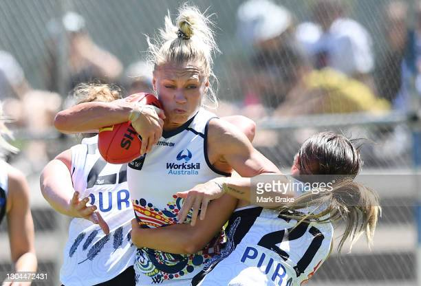 Erin Phillips of the Crows tackled by Georgia Patrikios of the Saints during the round five AFLW match between the Adelaide Crows and the St Kilda...
