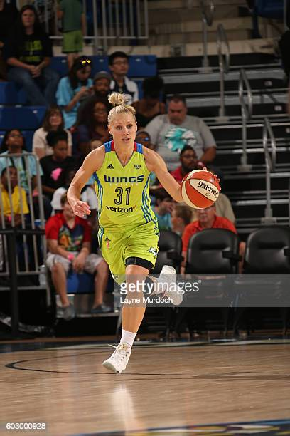 Erin Phillips of the Dallas Wings brings the ball up court against the New York Liberty on September 11 2016 at College Park Center in Arlington...