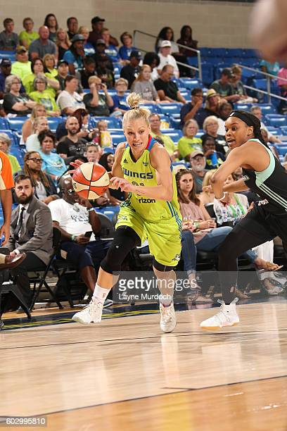 Erin Phillips of the Dallas Wings drives to the basket against the New York Liberty on September 11 2016 at College Park Center in Arlington Texas...