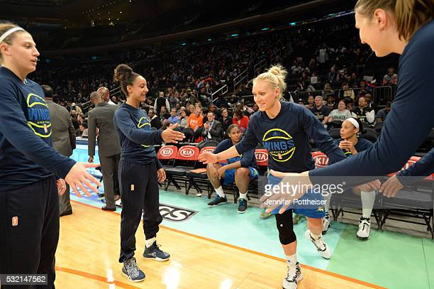 Erin Phillips of the Dallas Wings gets introduced before the game against the New York Liberty at Madison Square Garden on May 15 2016 in New York...