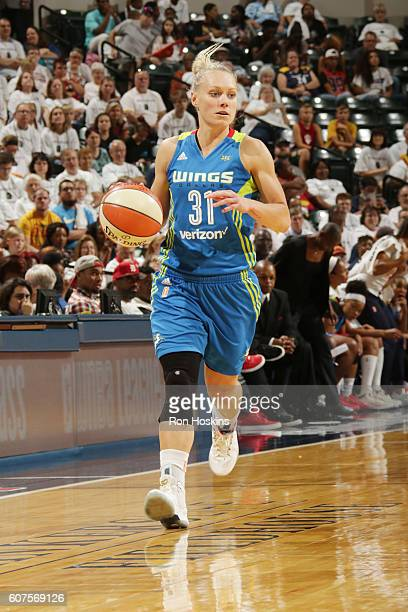 Erin Phillips of the Dallas Wings handles the ball against the Indiana Fever on September 18 2016 at Bankers Life Fieldhouse in Indianapolis Indiana...