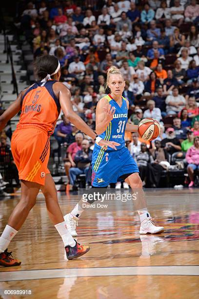 Erin Phillips of the Dallas Wings handles the ball against the Connecticut Sun on September 16 2016 at the Mohegan Sun Arena in Uncasville...