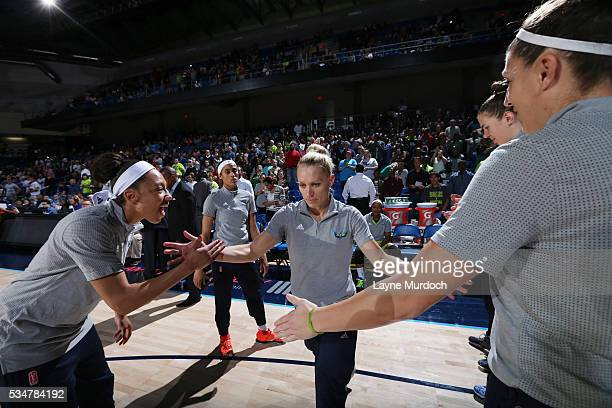 Erin Phillips of the Dallas Wings is introduced before the game against the Atlanta Dream on May 27 2016 at College Park Center in Arlington Texas...