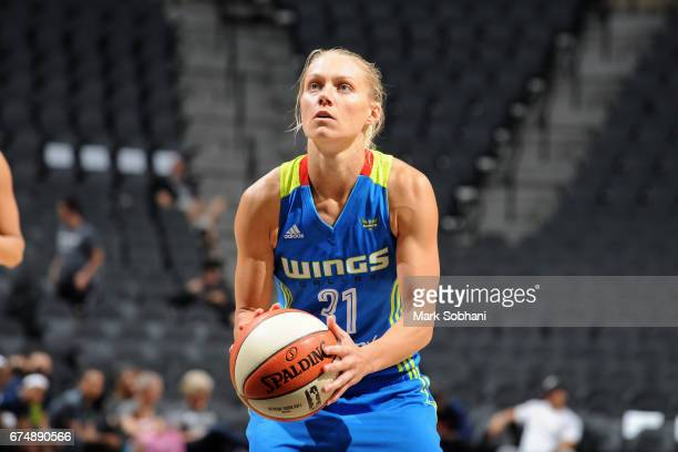 Erin Phillips of the Dallas Wings shoots a free throw during the game against the San Antonio Stars during the WNBA Preseason on April 29 2017 at the...
